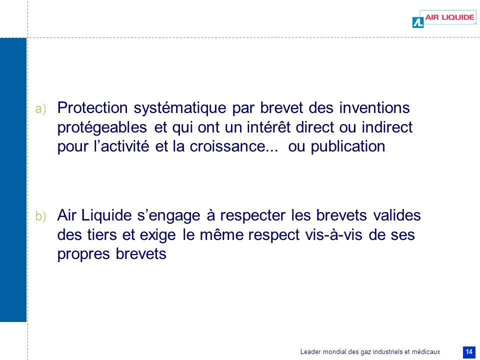 Leader mondial des gaz industriels et médicaux 14 a) Protection systématique par brevet des inventions protégeables et qui ont un intérêt direct ou in