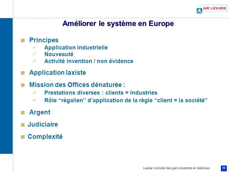 Leader mondial des gaz industriels et médicaux 19 Améliorer le système en Europe Principes Application industrielle Nouveauté Activité invention / non