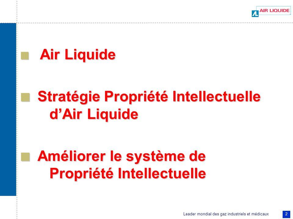 Leader mondial des gaz industriels et médicaux 2 Air Liquide Air Liquide Stratégie Propriété Intellectuelle dAir Liquide Stratégie Propriété Intellect