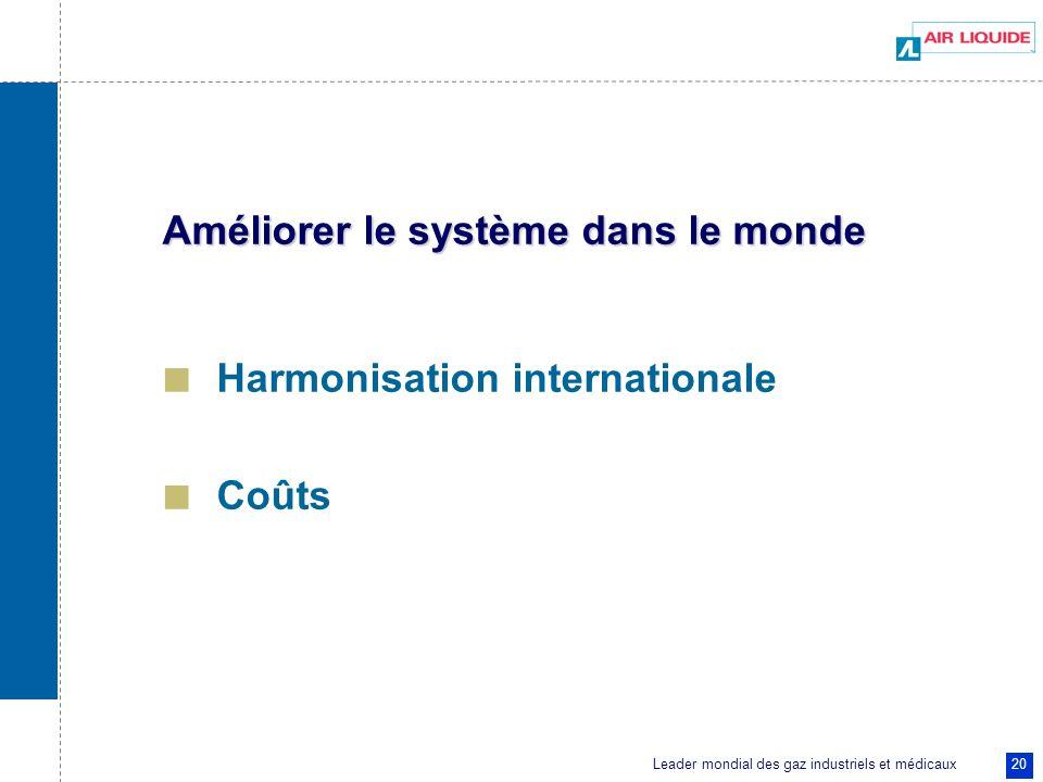 Leader mondial des gaz industriels et médicaux 20 Améliorer le système dans le monde Harmonisation internationale Coûts