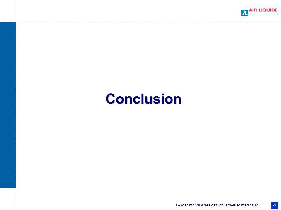 Leader mondial des gaz industriels et médicaux 21 Conclusion