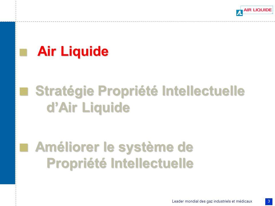 Leader mondial des gaz industriels et médicaux 3 Air Liquide Air Liquide Stratégie Propriété Intellectuelle dAir Liquide Stratégie Propriété Intellect