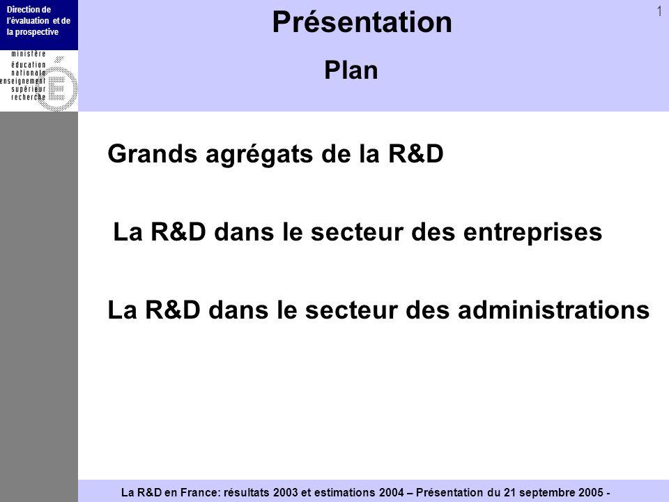 Direction de lévaluation et de la prospective 1 La R&D en France: résultats 2003 et estimations 2004 – Présentation du 21 septembre 2005 - Présentatio