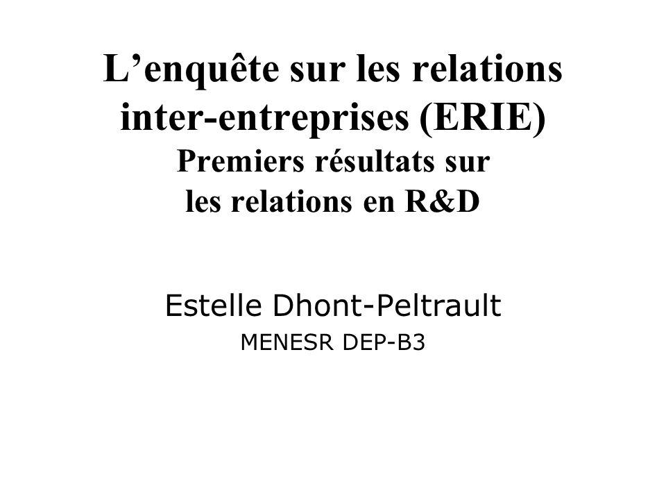 Lenquête sur les relations inter-entreprises (ERIE) Premiers résultats sur les relations en R&D Estelle Dhont-Peltrault MENESR DEP-B3