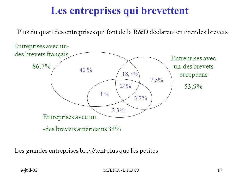 9-juil-02MJENR - DPD C317 Les entreprises qui brevettent Plus du quart des entreprises qui font de la R&D déclarent en tirer des brevets 40 % 18,7% 24% 2,3% 7,5% 3,7% 4 % Entreprises avec un- des brevets français 86,7% Entreprises avec un-des brevets européens 53,9% Entreprises avec un -des brevets américains 34% Les grandes entreprises brevètent plus que les petites