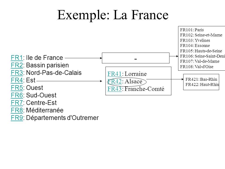 Exemple: La France FR1FR1: Ile de France FR2: Bassin parisien FR3: Nord-Pas-de-Calais FR4: Est FR5: Ouest FR6: Sud-Ouest FR7: Centre-Est FR8: Méditerranée FR9: Départements d Outremer FR2 FR3 FR4 FR5 FR6 FR7 FR8 FR9 FR41FR41: Lorraine FR42: Alsace FR43: Franche-Comté FR42 FR43 FR421: Bas-Rhin FR422: Haut-Rhin - FR101: Paris FR102: Seine-et-Marne FR103: Yvelines FR104: Essonne FR105: Hauts-de-Seine FR106: Seine-Saint-Denis FR107: Val-de-Marne FR108: Val-d Oise