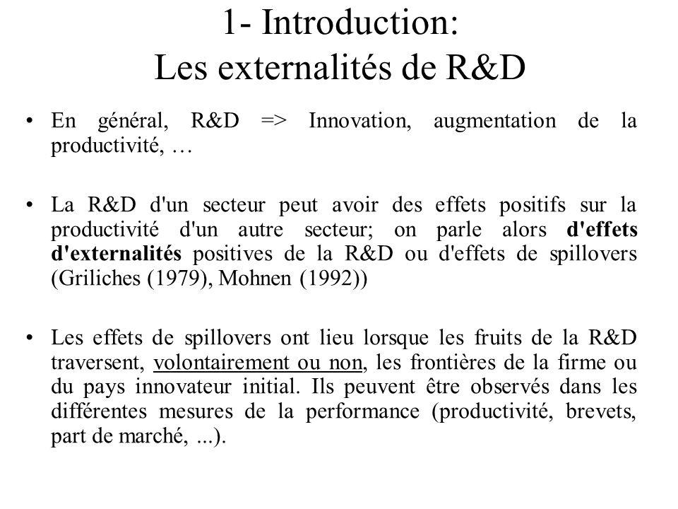 1- Introduction: Les externalités de R&D En général, R&D => Innovation, augmentation de la productivité, … La R&D d un secteur peut avoir des effets positifs sur la productivité d un autre secteur; on parle alors d effets d externalités positives de la R&D ou d effets de spillovers (Griliches (1979), Mohnen (1992)) Les effets de spillovers ont lieu lorsque les fruits de la R&D traversent, volontairement ou non, les frontières de la firme ou du pays innovateur initial.