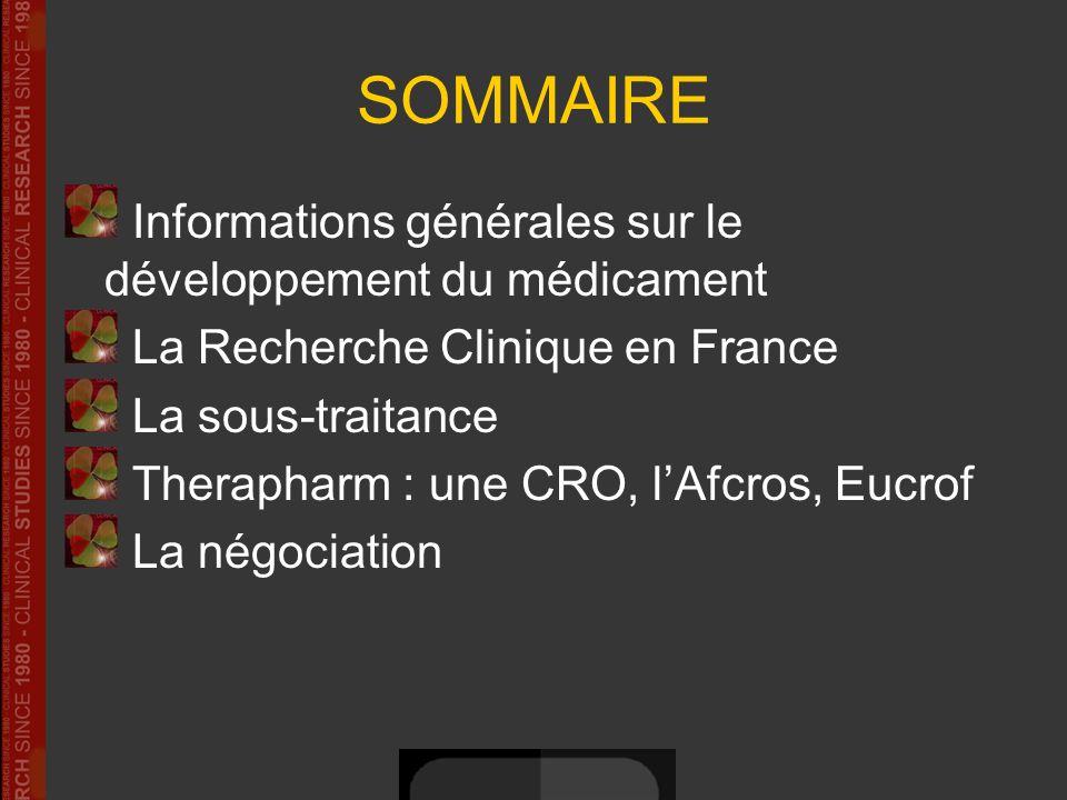 SOMMAIRE Informations générales sur le développement du médicament La Recherche Clinique en France La sous-traitance Therapharm : une CRO, lAfcros, Eu