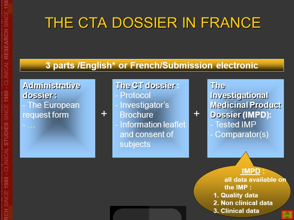 THE CTA DOSSIER IN FRANCE Administrative dossier : - The European request form - … + The Investigational Medicinal Product Dossier The Investigational