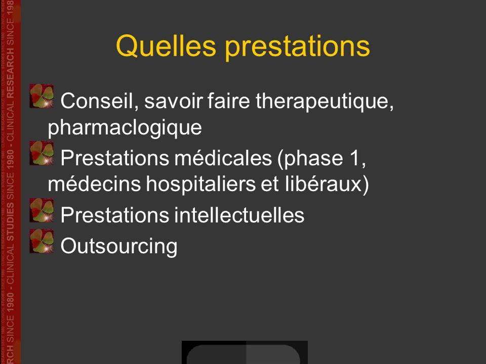 Quelles prestations Conseil, savoir faire therapeutique, pharmaclogique Prestations médicales (phase 1, médecins hospitaliers et libéraux) Prestations