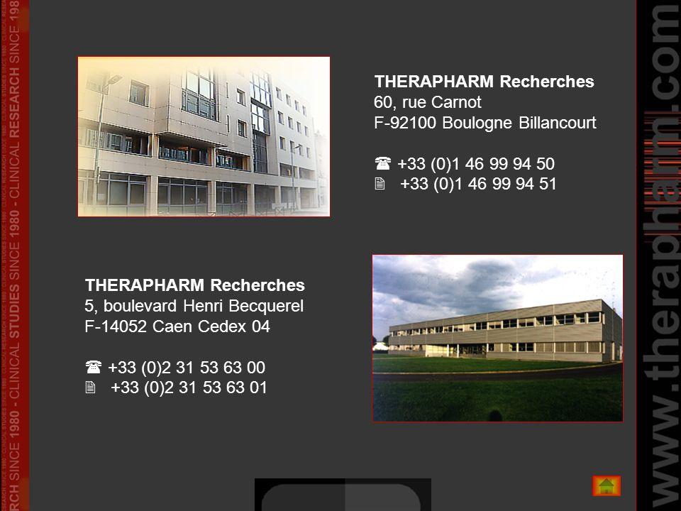 THERAPHARM Recherches 60, rue Carnot F-92100 Boulogne Billancourt +33 (0)1 46 99 94 50 +33 (0)1 46 99 94 51 THERAPHARM Recherches 5, boulevard Henri B
