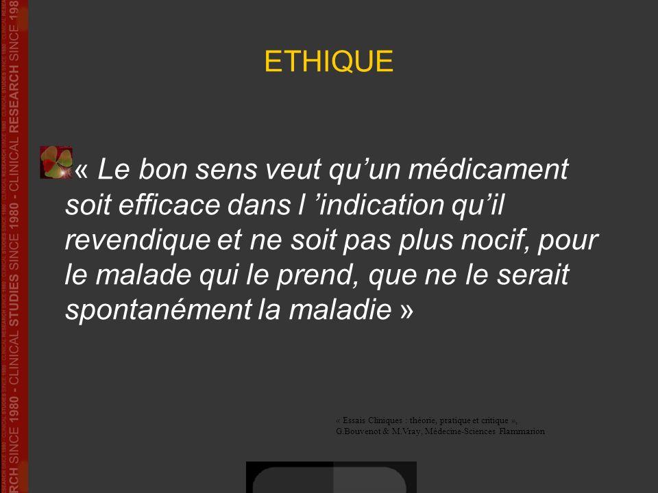 ETHIQUE « Le bon sens veut quun médicament soit efficace dans l indication quil revendique et ne soit pas plus nocif, pour le malade qui le prend, que