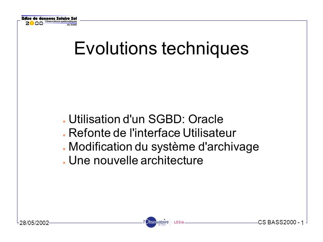 CS BASS2000 - 1 28/05/2002 Utilisation d un SGBD: le besoin Harmonisation avec l archive Long Terme Accélérer les recherches Associer les données entre elles Interopérabilité avec d autres bases de données Mise en valeur des données synoptiques