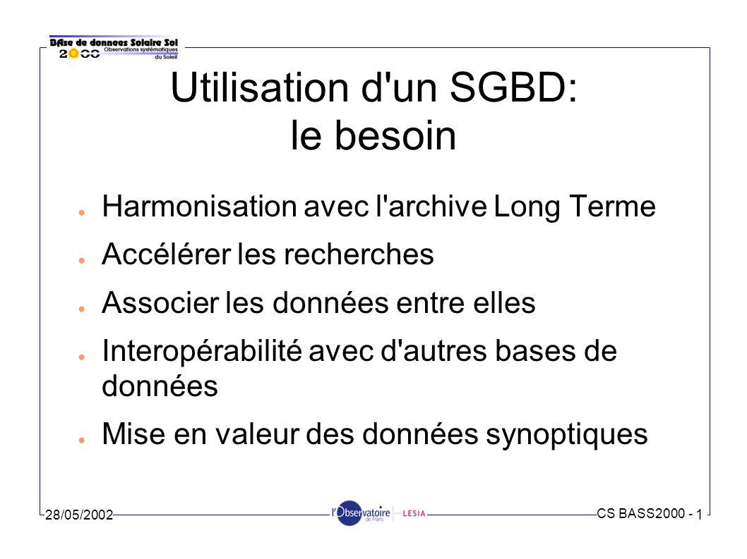CS BASS2000 - 1 28/05/2002 Utilisation d un SGBD: les réalisations Dictionnaire des données Schéma conceptuel Schéma relationnel Scripts SQL de création des tables Procédures d insertion (Java, SQL) Administration du SGBD Oracle 8i