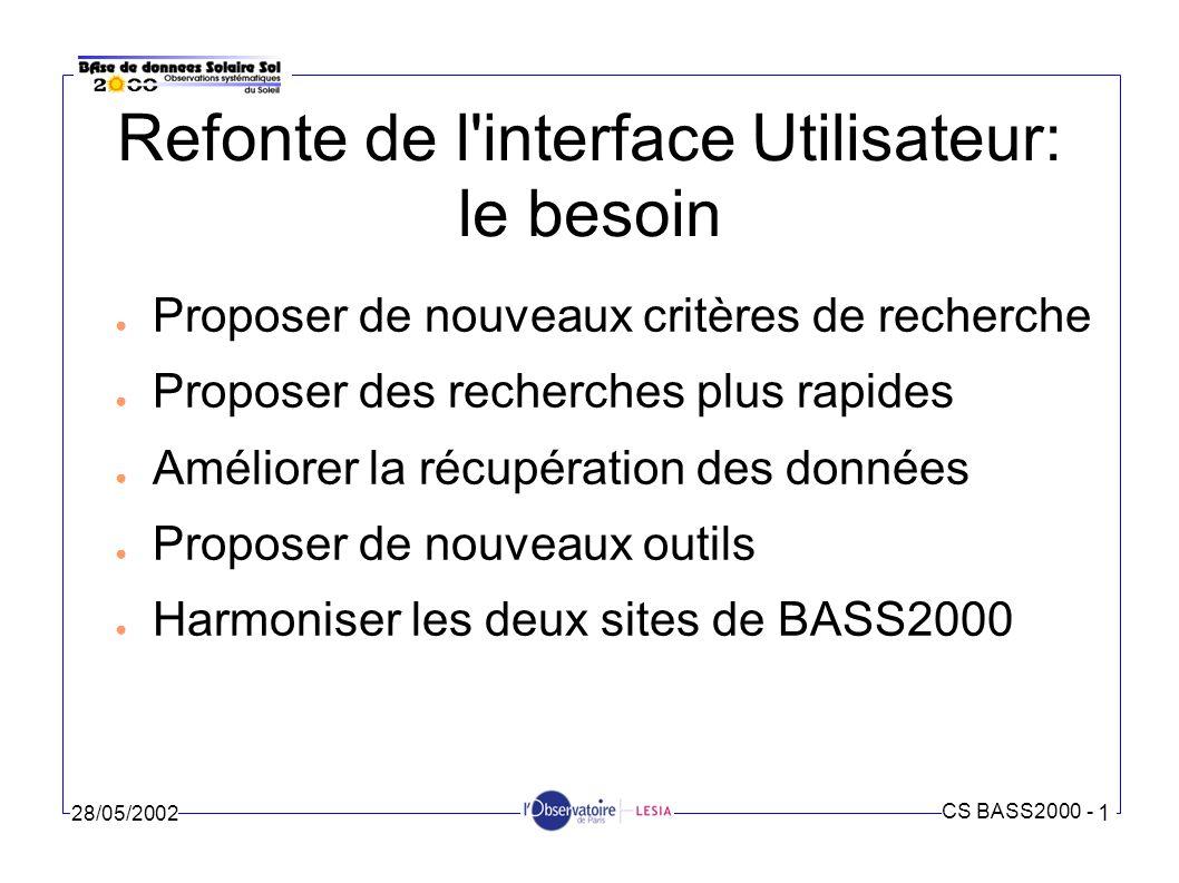 CS BASS2000 - 1 28/05/2002 Refonte de l interface Utilisateur: les réalisations Démo du site Web: http://b2kmdv.obspm.fr/accueil.php Des pages communes aux 2 sites (accueil, guide instruments...)