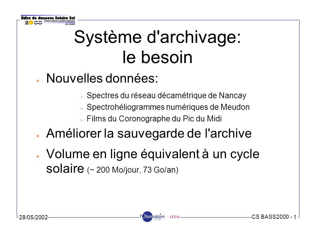 CS BASS2000 - 1 28/05/2002 Système d archivage: les réalisations Une nouvelle arborescence des fichiers Un système RAID Des procédures de sauvegarde