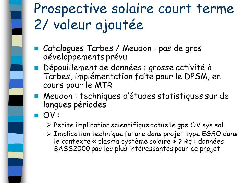 Catalogues Tarbes / Meudon : pas de gros développements prévu Dépouillement de données : grosse activité à Tarbes, implémentation faite pour le DPSM,