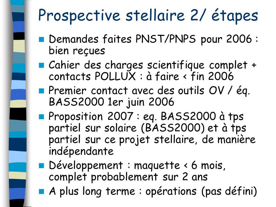 Demandes faites PNST/PNPS pour 2006 : bien reçues Cahier des charges scientifique complet + contacts POLLUX : à faire < fin 2006 Premier contact avec des outils OV / éq.