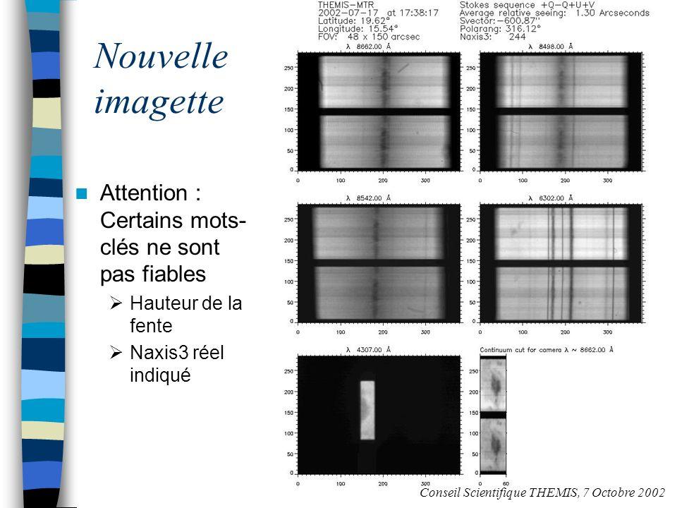 Page Web Seeing Conseil Scientifique THEMIS, 7 Octobre 2002