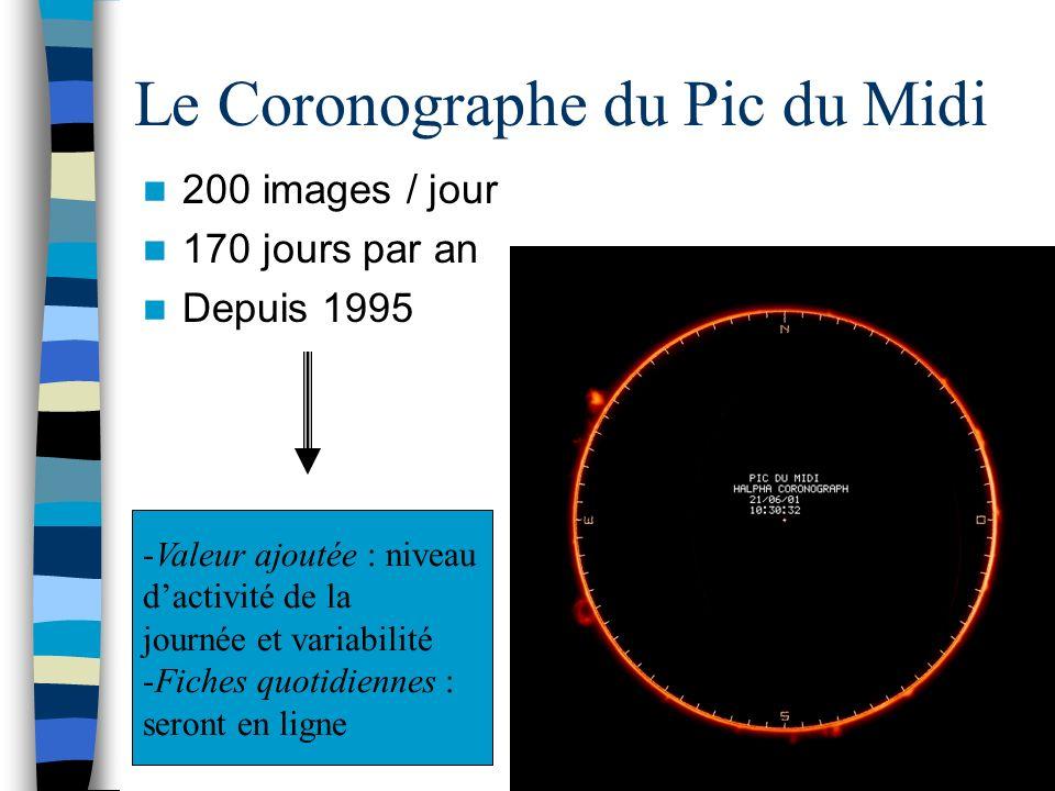 Le Coronographe du Pic du Midi 200 images / jour 170 jours par an Depuis 1995 -Valeur ajoutée : niveau dactivité de la journée et variabilité -Fiches quotidiennes : seront en ligne
