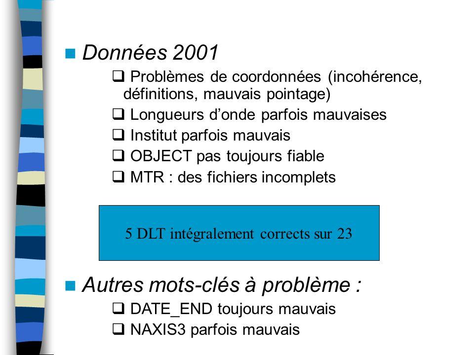 Données 2001 Problèmes de coordonnées (incohérence, définitions, mauvais pointage) Longueurs donde parfois mauvaises Institut parfois mauvais OBJECT p