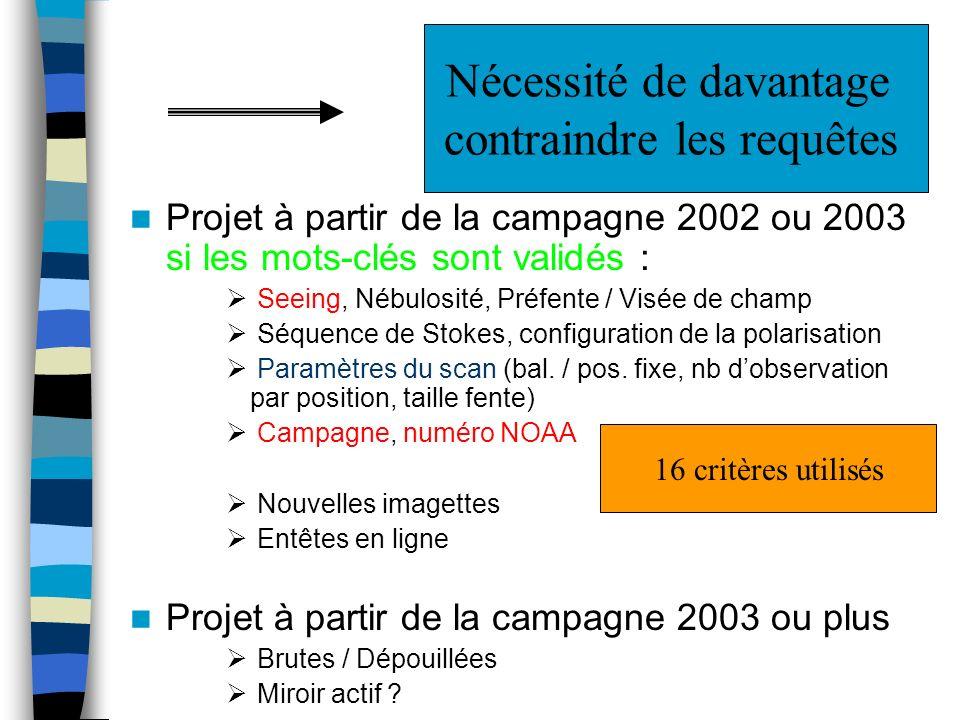 Projet à partir de la campagne 2002 ou 2003 si les mots-clés sont validés : Seeing, Nébulosité, Préfente / Visée de champ Séquence de Stokes, configuration de la polarisation Paramètres du scan (bal.