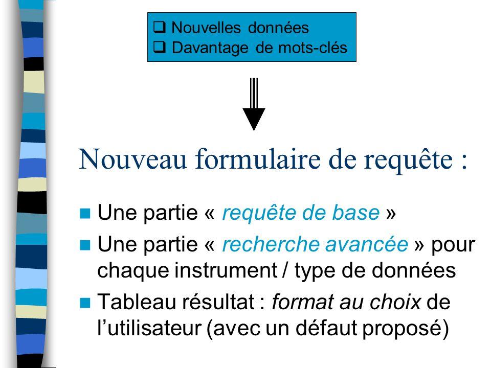 Nouveau formulaire de requête : Une partie « requête de base » Une partie « recherche avancée » pour chaque instrument / type de données Tableau résultat : format au choix de lutilisateur (avec un défaut proposé) Nouvelles données Davantage de mots-clés