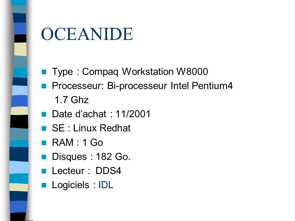 OCEANIDE Type : Compaq Workstation W8000 Processeur: Bi-processeur Intel Pentium4 1.7 Ghz Date dachat : 11/2001 SE : Linux Redhat RAM : 1 Go Disques :