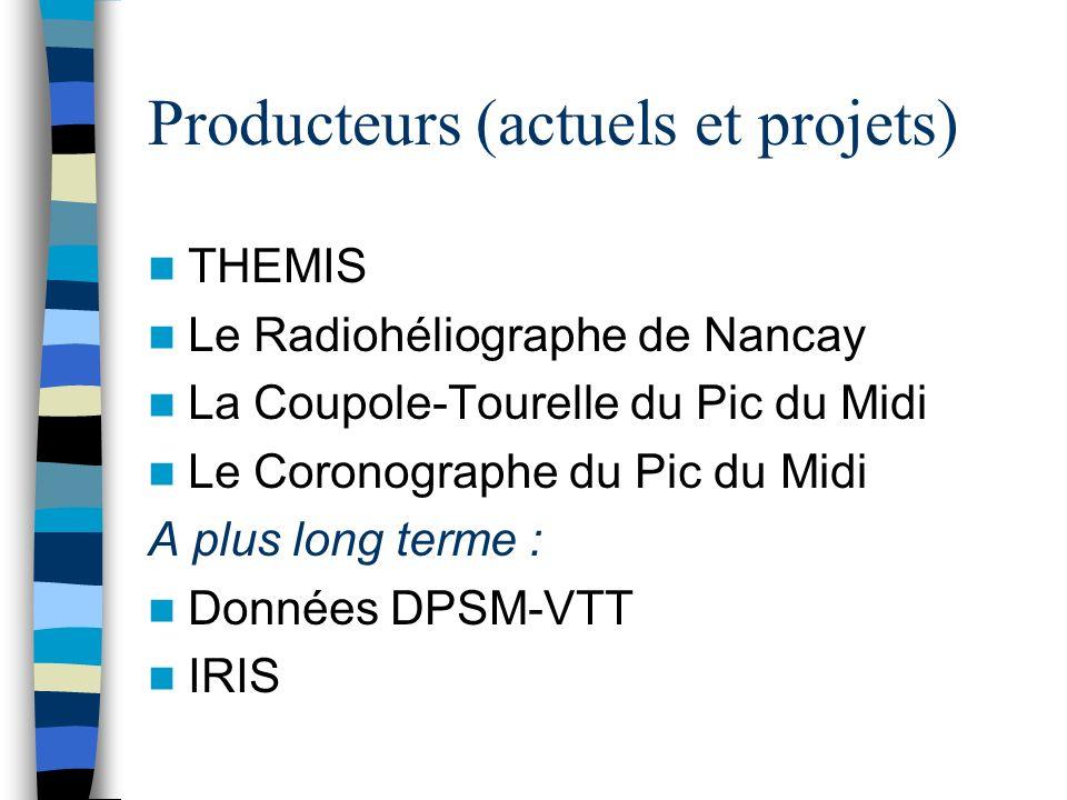 Producteurs (actuels et projets) THEMIS Le Radiohéliographe de Nancay La Coupole-Tourelle du Pic du Midi Le Coronographe du Pic du Midi A plus long terme : Données DPSM-VTT IRIS