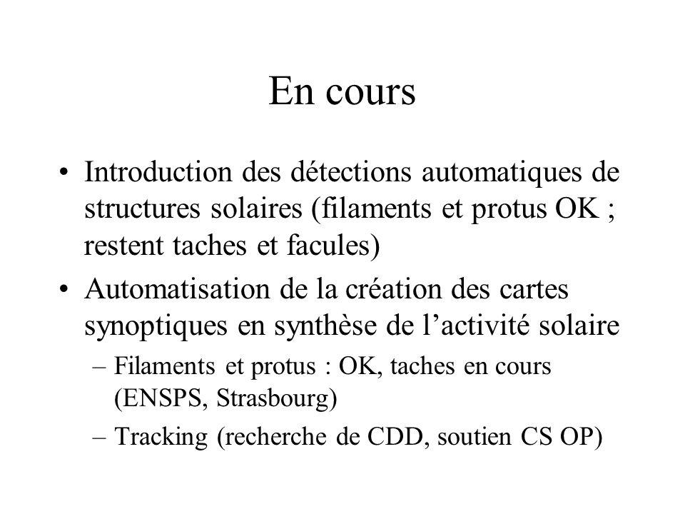 En cours Introduction des détections automatiques de structures solaires (filaments et protus OK ; restent taches et facules) Automatisation de la création des cartes synoptiques en synthèse de lactivité solaire –Filaments et protus : OK, taches en cours (ENSPS, Strasbourg) –Tracking (recherche de CDD, soutien CS OP)