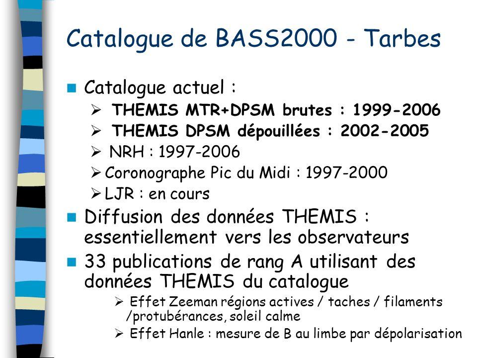 Catalogue de BASS2000 - Tarbes Catalogue actuel : THEMIS MTR+DPSM brutes : 1999-2006 THEMIS DPSM dépouillées : 2002-2005 NRH : 1997-2006 Coronographe