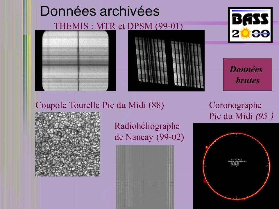 Données archivées THEMIS : MTR et DPSM (99-01) Coupole Tourelle Pic du Midi (88) Radiohéliographe de Nancay (99-02) Coronographe Pic du Midi (95-) Données brutes