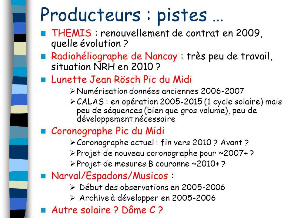 Producteurs : pistes … THEMIS : renouvellement de contrat en 2009, quelle évolution .