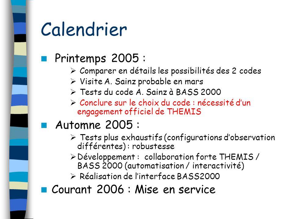 Calendrier Printemps 2005 : Comparer en détails les possibilités des 2 codes Visite A.