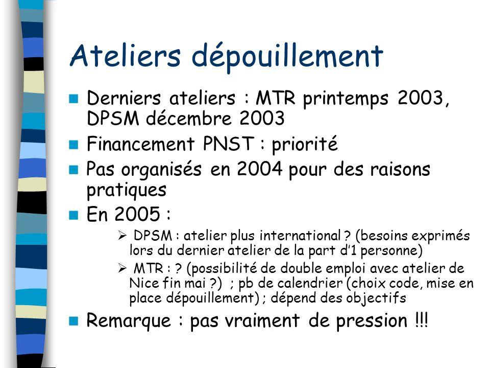 Ateliers dépouillement Derniers ateliers : MTR printemps 2003, DPSM décembre 2003 Financement PNST : priorité Pas organisés en 2004 pour des raisons pratiques En 2005 : DPSM : atelier plus international .