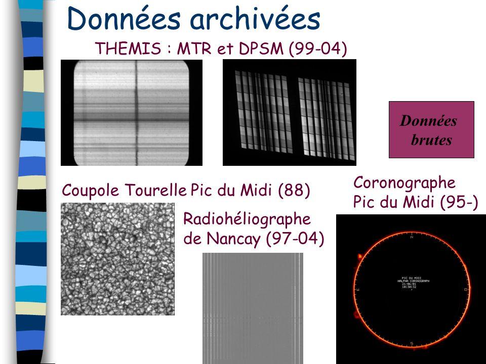 Données archivées THEMIS : MTR et DPSM (99-04) Coupole Tourelle Pic du Midi (88) Radiohéliographe de Nancay (97-04) Coronographe Pic du Midi (95-) Données brutes