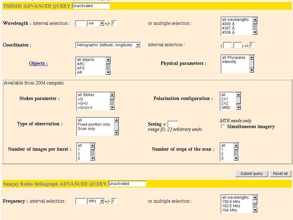 THEMIS : données dépouillées Brutes (MTR, DPSM) « Spectres propres »=calibrés, recentrés, correction grandissement (MTR) ; Manque dinformation sur les calibrations (sensibilisation des observateurs, problème de la taille du pixel spatial en MTR) Demande de prise en compte dans daily report : pas fait Demande historique (position des lames polarimètre, voie haute / basse) depuis juillet 2003 : rien reçu Paramètres de Stokes (MTR, DPSM) Cartes de B//,V//,I (MTR, DPSM) Cartes de vecteur B (MTR) : + long terme Extrapolation