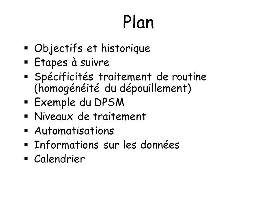 Plan Objectifs et historique Etapes à suivre Spécificités traitement de routine (homogénéité du dépouillement) Exemple du DPSM Niveaux de traitement Automatisations Informations sur les données Calendrier