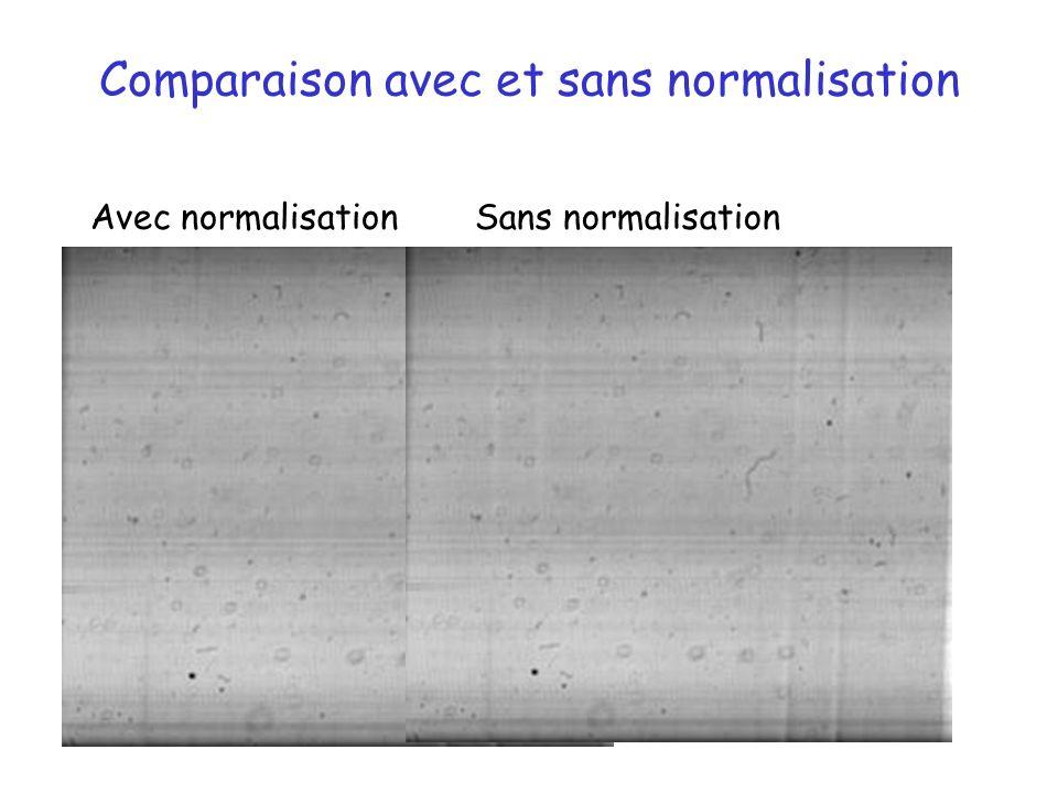Comparaison avec et sans normalisation Avec normalisationSans normalisation
