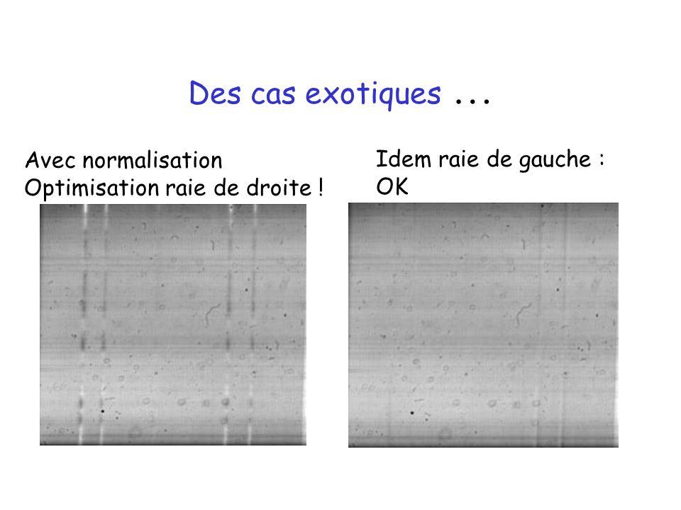 Des cas exotiques … Avec normalisation Optimisation raie de droite ! Idem raie de gauche : OK