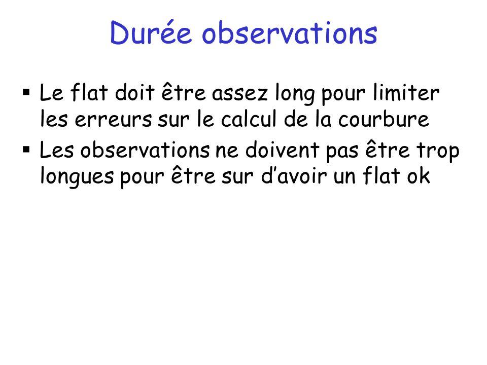 Durée observations Le flat doit être assez long pour limiter les erreurs sur le calcul de la courbure Les observations ne doivent pas être trop longues pour être sur davoir un flat ok