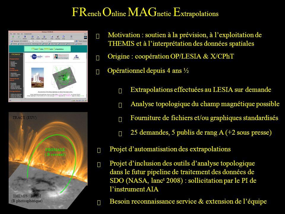 FR ench O nline MAG netic E xtrapolations TRACE (EUV) THEMIS / DPSM (B photosphérique) FROMAGE ( B coronal ) Opérationnel depuis 4 ans ½ Origine : coopération OP/LESIA & X/CPhT Motivation : soutien à la prévision, à lexploitation de THEMIS et à linterprétation des données spatiales Extrapolations effectuées au LESIA sur demande Analyse topologique du champ magnétique possible 25 demandes, 5 publis de rang A (+2 sous presse) Fourniture de fichiers et/ou graphiques standardisés Projet dautomatisation des extrapolations Projet dinclusion des outils danalyse topologique dans le futur pipeline de traitement des données de SDO (NASA, lanc t 2008) : sollicitation par le PI de linstrument AIA Besoin reconnaissance service & extension de léquipe