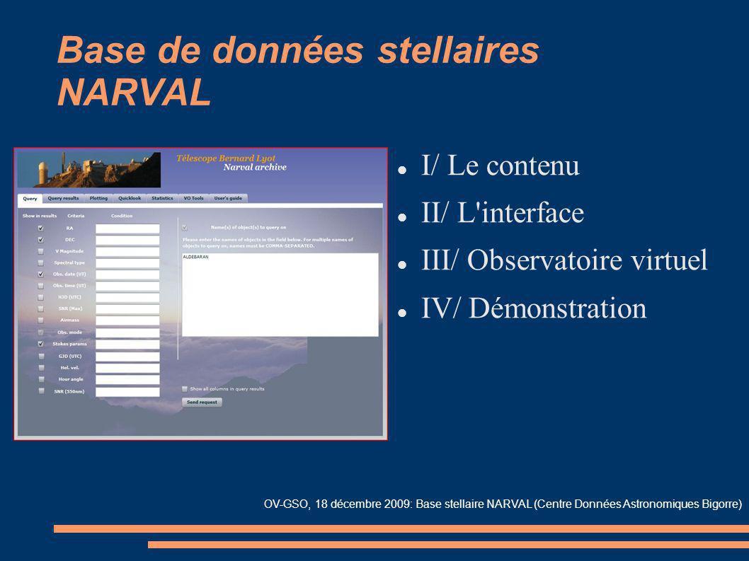 OV-GSO, 18 décembre 2009: Base stellaire NARVAL (Centre Données Astronomiques Bigorre) Base de données stellaires NARVAL I/ Le contenu II/ L'interface