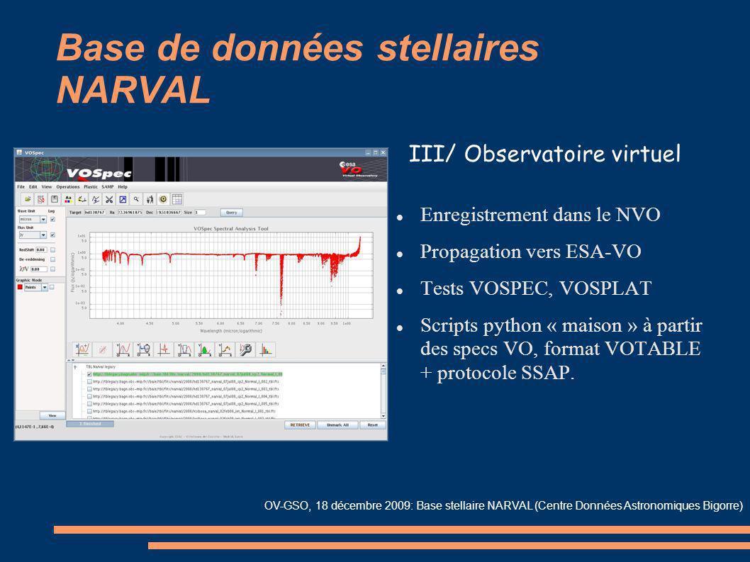 Base de données stellaires NARVAL Enregistrement dans le NVO Propagation vers ESA-VO Tests VOSPEC, VOSPLAT Scripts python « maison » à partir des spec