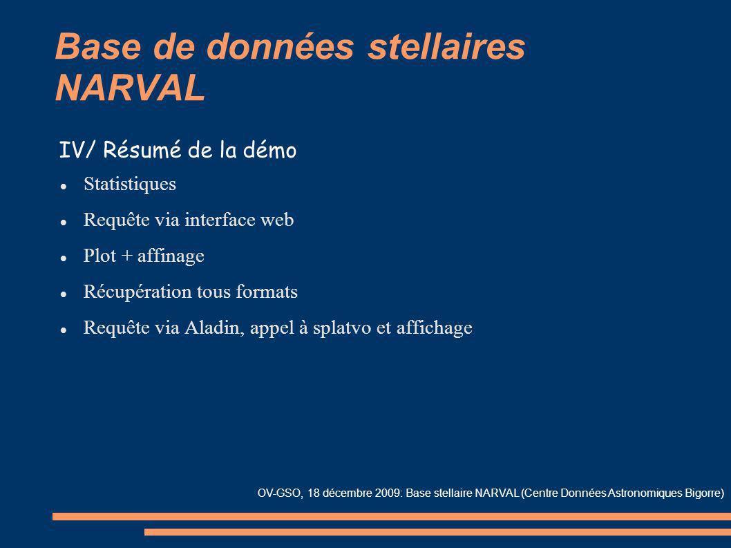Base de données stellaires NARVAL Statistiques Requête via interface web Plot + affinage Récupération tous formats Requête via Aladin, appel à splatvo