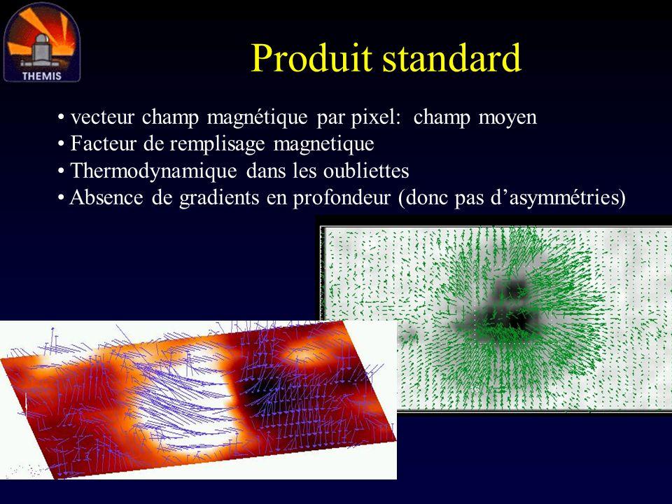 Produit standard vecteur champ magnétique par pixel: champ moyen Facteur de remplisage magnetique Thermodynamique dans les oubliettes Absence de gradi