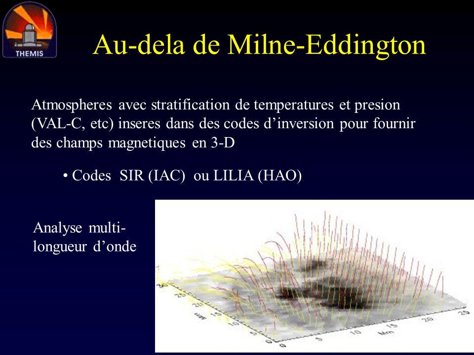 Au-dela de Milne-Eddington Atmospheres avec stratification de temperatures et presion (VAL-C, etc) inseres dans des codes dinversion pour fournir des
