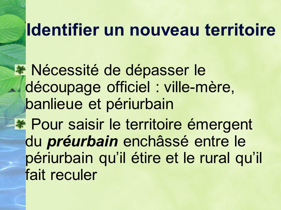 Identifier un nouveau territoire Le préurbain na t-il pas un air de famille avec lexurb désignant, selon Spectorsky, des territoires semi-urbains au-delà des banlieues ?