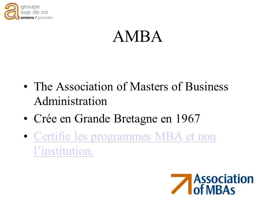 présentation EQUIS 2005 AMBA The Association of Masters of Business Administration Crée en Grande Bretagne en 1967 Certifie les programmes MBA et non linstitution.Certifie les programmes MBA et non linstitution.