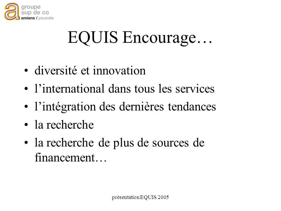 présentation EQUIS 2005 EQUIS Encourage… diversité et innovation linternational dans tous les services lintégration des dernières tendances la recherche la recherche de plus de sources de financement…